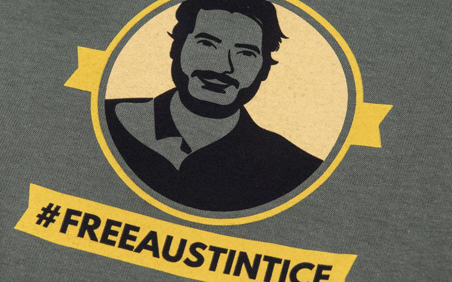 An image of missing journalist Austin Tice, on a t-shirt distributed to volunteers on Capitol Hill, Sept. 23, 2019.