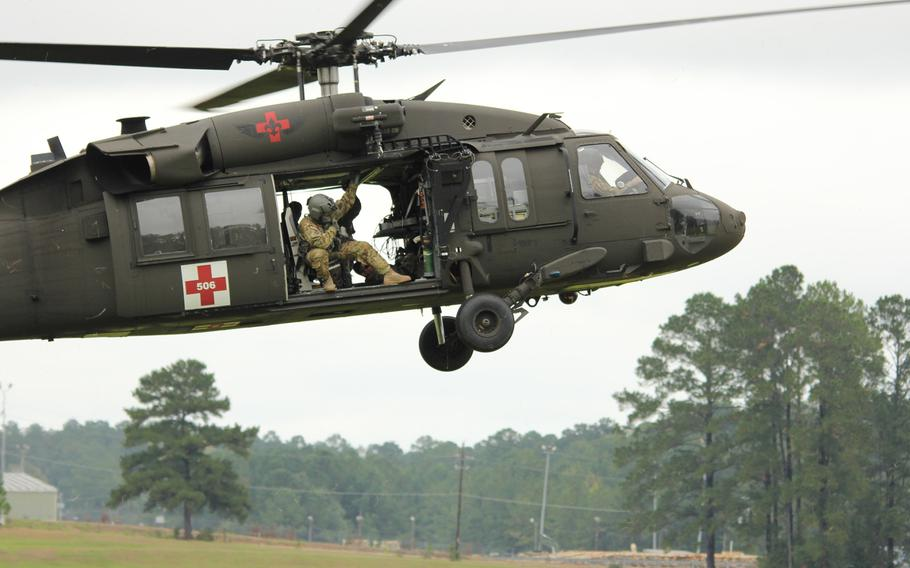 A U.S. Army UH-60 Black Hawk helicopter lands on Honor Field at Fort Polk, Louisiana, Oct. 25, 2018.