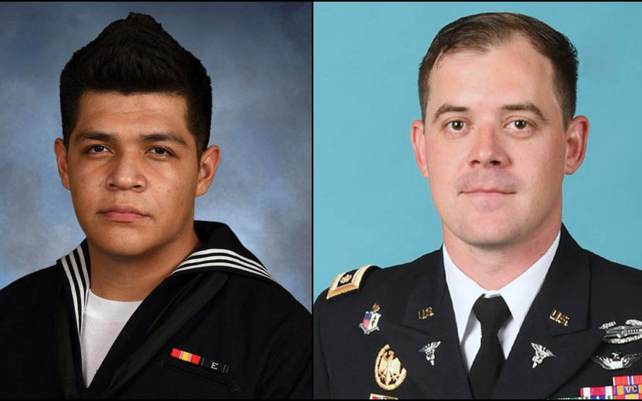 Left: The U.S. Navy identified Logistics Specialist Seaman Juan Jose Garcia-Herrera of Chicago, as the sailor who died Saturday from a fall aboard the USS Nimitz on Friday, Sept. 27, 2019. Right: The U.S. Army identified Maj. Trevor Joseph, commander of the Charlie Company, 1st Battalion, 5th Aviation Regiment medevac unit at Fort Polk, La., as the pilot killed in a helicopter crash Thursday, Sept. 26, 2019.