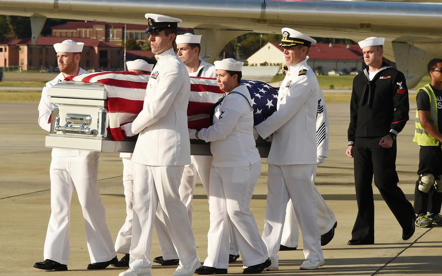The remains of U.S. Navy WWII seaman Johnnie Cornelius Laurie returned home after recently being identified. He was killed on USS Oklahoma Dec. 7, 1941 during the attack on Pearl Harbor.