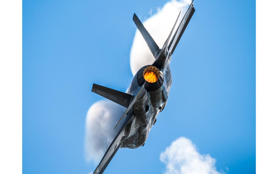 An F-35 performs aerial maneuvers during an airshow Oct. 18, 2019, in Houston, Texas.