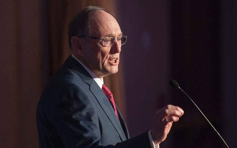 """Then-Chairman of the House Committee on Veterans Affairs Rep Phil Roe, R-Tenn., speaks at a veterans event in Washington, D.C., on Feb. 27, 2018. After a contentious hearing on Tuesday, Oct. 29, 2019, Roe said he is now """"embarrassed"""" to be on the committee, which formerly had been known for its bipartisan cooperation."""