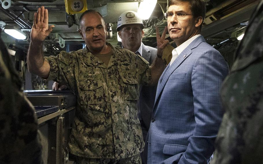 Secretary of Defense Mark Esper visits the USS Boise attack submarine, Norfolk, Va., Sept. 25, 2019. With him is the commander of submarine forces, Vice Adm. Charles Richard.