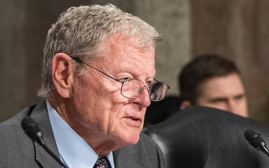 Chairman of the Senate Armed Services Committee Sen. James Inhofe, R-Okla., addresses witnesses on Tuesday, Feb. 12, 2019, during a hearing on Capitol Hill in Washington.