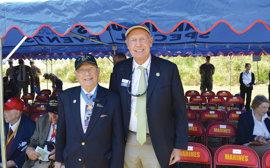"""Bill McNutt, right, stands with Medal of Honor recipient Hershel """"Woody"""" Williams in an undated photo."""