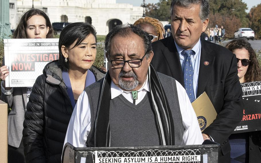 Rep. Raúl M. Grijalva, D-Ariz., speaks at a press conference on the use of U.S. troops at the southern border, November 15, 2019 on Capitol Hill. Behind him are Reps. Judy Chu, D-Calif., and Juan Vargas, D-Calif.