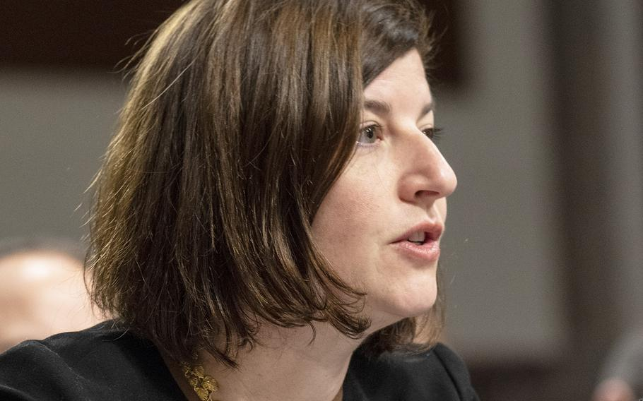 Elizabeth A. Field, director of defense capabilities and management for the Government Accountability Office, testifies at a hearing on privatized military housing, December 3, 2019, on Capitol Hill.
