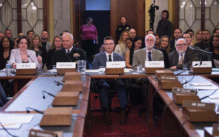 Attending a Senate Veterans Affairs hearing on Capitol Hill in Washington on Wednesday, Dec. 4, 2019, are from left, Department of Defense Suicide Prevention Director Karin Orvis, DOD's Mental Health Programs Director Capt. Michael Colston, Acting Director of the VA's Suicide Prevention Program Matthew Miller, Department of Health and Human Services' Suicide Prevention Branch Chief Richard McKeon and Harvard Medical School's McNeil Family Professor of Health Care Policy Ronald Kessler.
