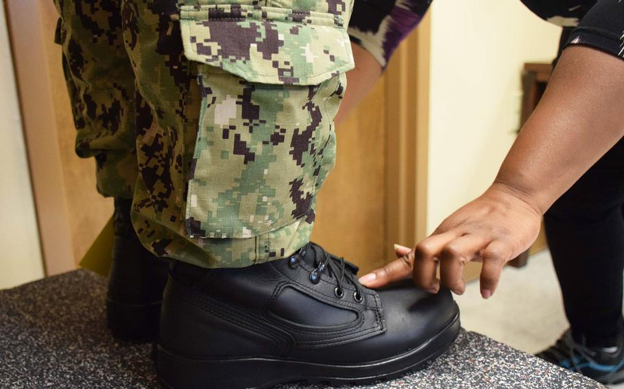 In a September, 2019 photo, sailors from USS George Washington wear-test the I-Boot 5 at Naval Station Norfolk, Va.