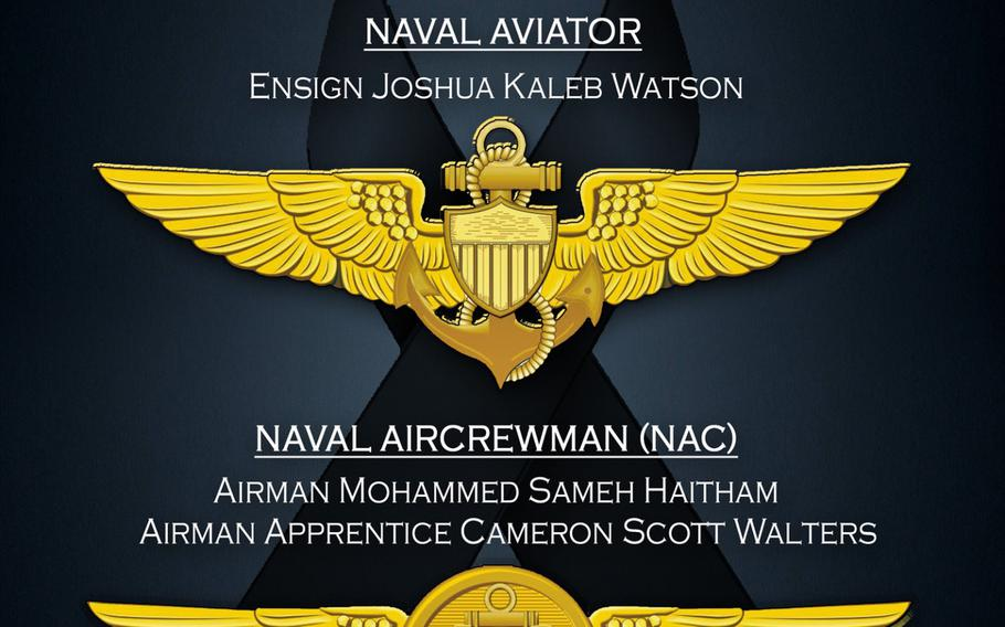 A graphic depiction of the Naval Aviator and Naval Aircrewman pins posthumously awarded, Dec. 10, 2019, by Acting Secretary of the Navy Thomas B. Modly to the victims of the Dec. 6 Naval Air Station Pensacola shooting.