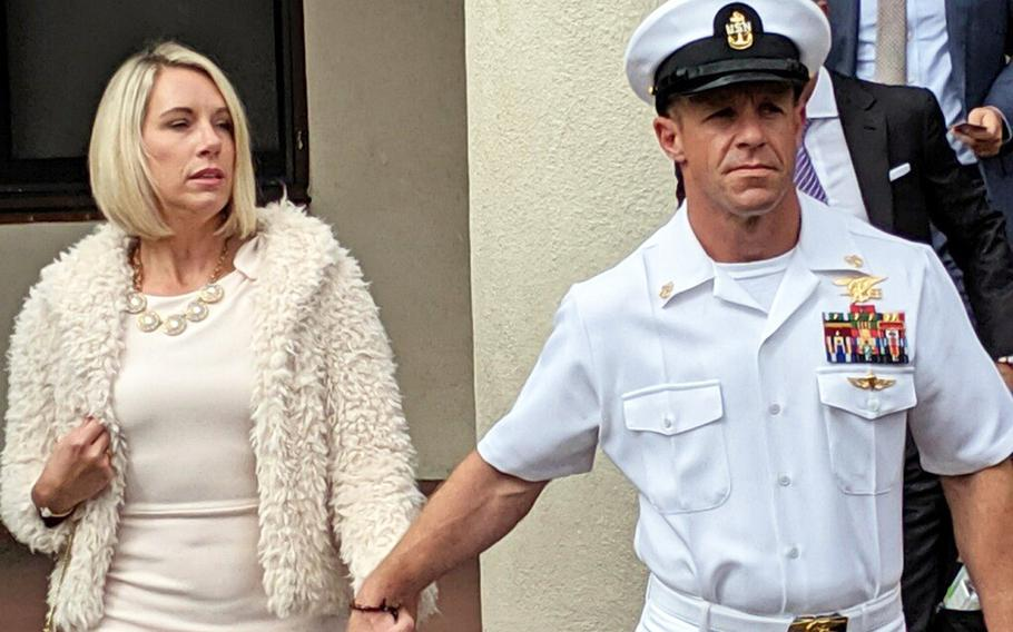 Navy SEAL Chief Edward R. Gallagher and his wife, Andrea, leave the courthouse at the during his trial in November, 2019.
