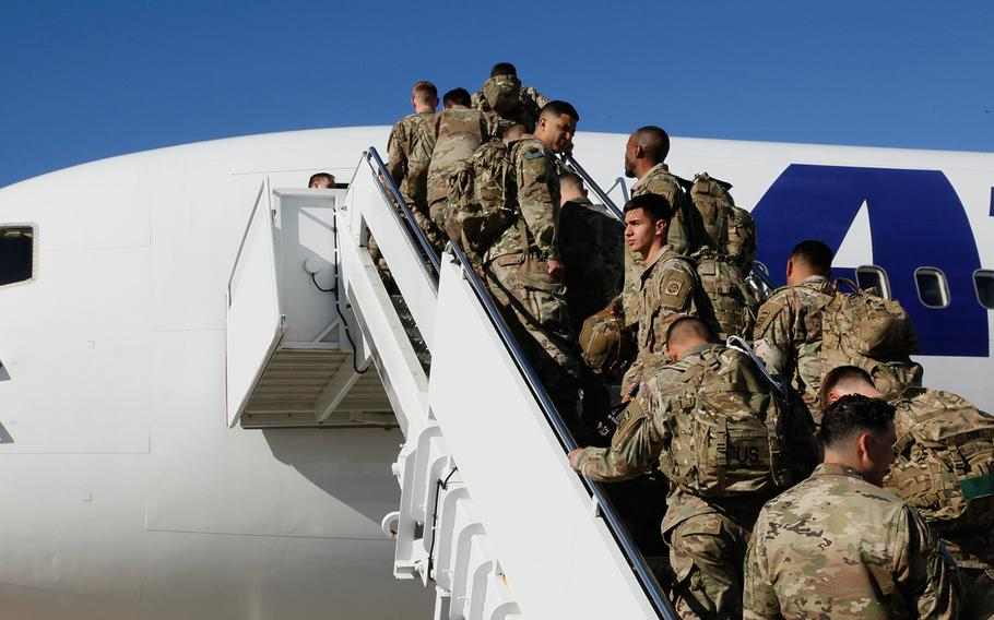 Paratroopers assigned to 1st Brigade Combat Team, 82nd Airborne Division load aircraft bound for the U.S. Central Command area of operations from Fort Bragg, N.C. on January 5, 2020.