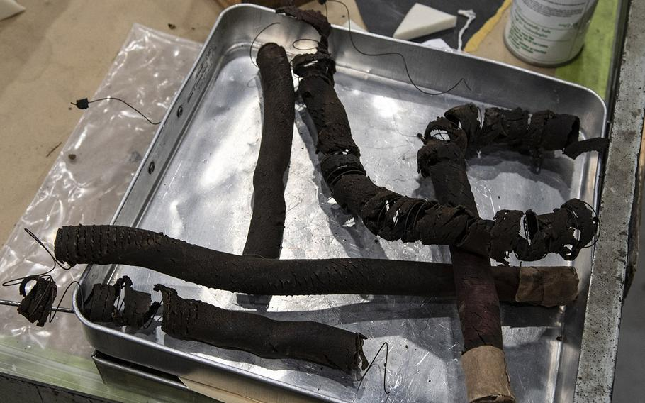 """Parts from the Martin B-26B-25-MA Marauder """"Flak-Bait,"""" during restoration work at the Smithsonian's Udvar-Hazy Center in January, 2020."""