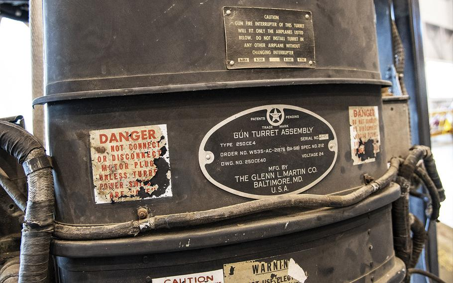 """Instructions on the upper gun turret of the Martin B-26B-25-MA Marauder """"Flak-Bait,"""" being restored at the Smithsonian's Udvar-Hazy Center in January, 2020."""