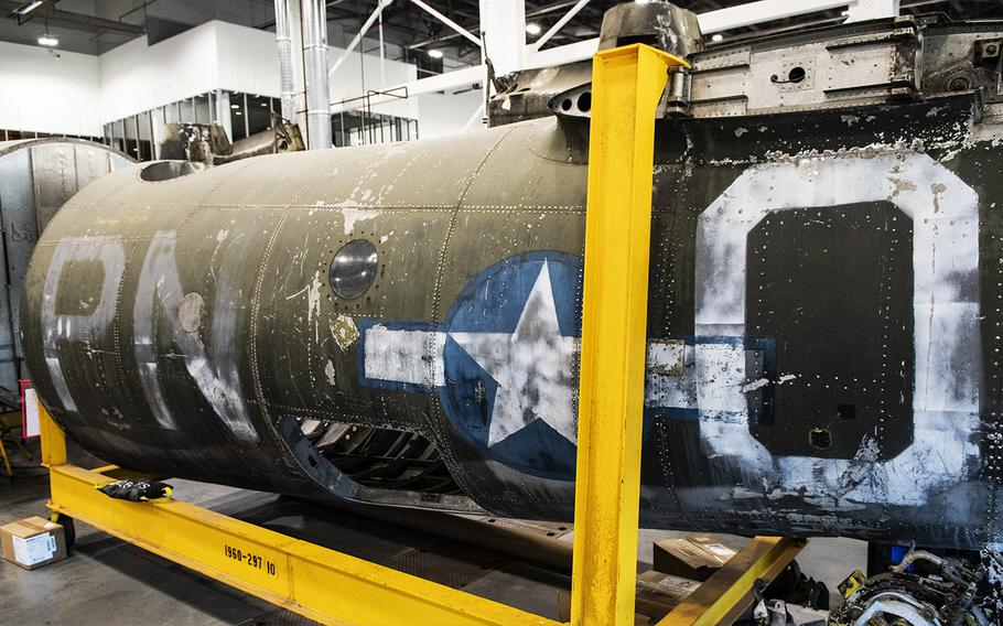 """The fuselage identification code """"PN-O"""" on the Martin B-26B-25-MA Marauder """"Flak-Bait,"""" being restored at the Smithsonian's Udvar-Hazy Center in January, 2020, indicates that aircraft """"O"""" was assigned to the 449th Bombardment Squadron, 322nd Bombardment Group (nicknamed the 'Annihilators')."""