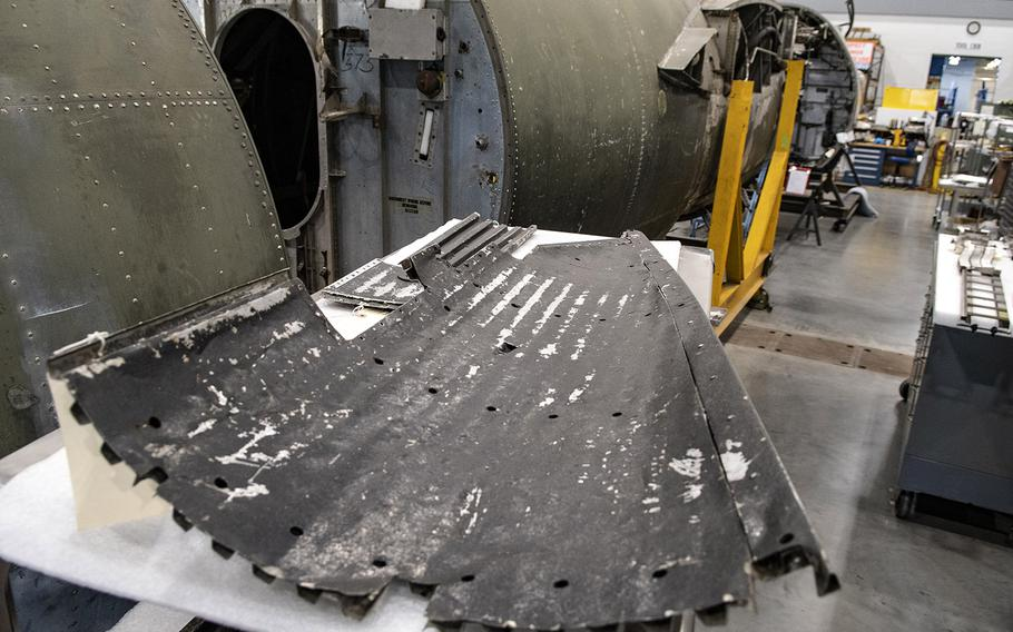 """A section of the Martin B-26B-25-MA Marauder """"Flak-Bait,"""" during restoration work at the Smithsonian's Udvar-Hazy Center in January, 2020."""