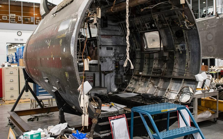 """The front section of the Martin B-26B-25-MA Marauder """"Flak-Bait,"""" being restored at the Smithsonian's Udvar-Hazy Center in January, 2020."""