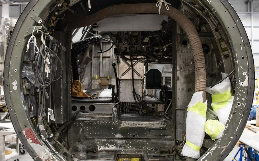 "Inside the Martin B-26B-25-MA Marauder ""Flak-Bait,"" being restored at the Smithsonian's Udvar-Hazy Center in January, 2020."