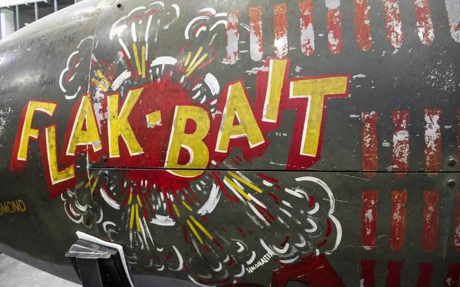 """Nose art on the Martin B-26B-25-MA Marauder """"Flak-Bait,"""" being restored at the Smithsonian's Udvar-Hazy Center in January, 2020."""
