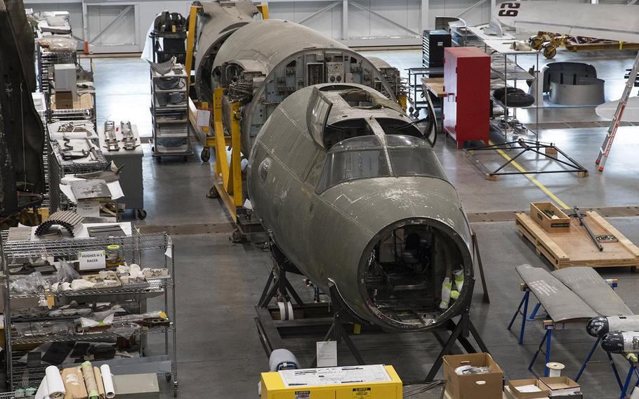 "The Martin B-26B-25-MA Marauder ""Flak-Bait,"" being restored at the Smithsonian's Udvar-Hazy Center in January, 2020."