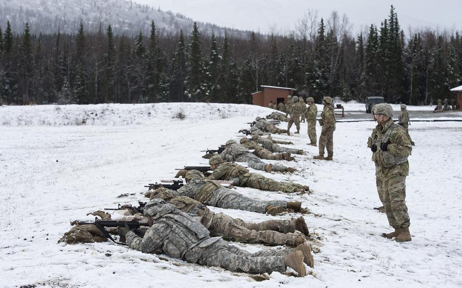 Soldiers with U.S. Army Alaska compete in the Best Warrior Competition at Joint Base Elmendorf-Richardson, Alaska, April 17, 2019.
