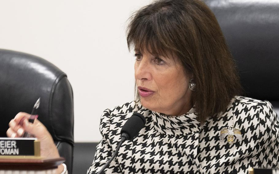 Chairwoman Rep. Jackie Speier, D-Calif., asks a question during a House Armed Services subcommittee hearing on the Exceptional Family Member Program, Feb. 5, 2020 on Capitol Hill.
