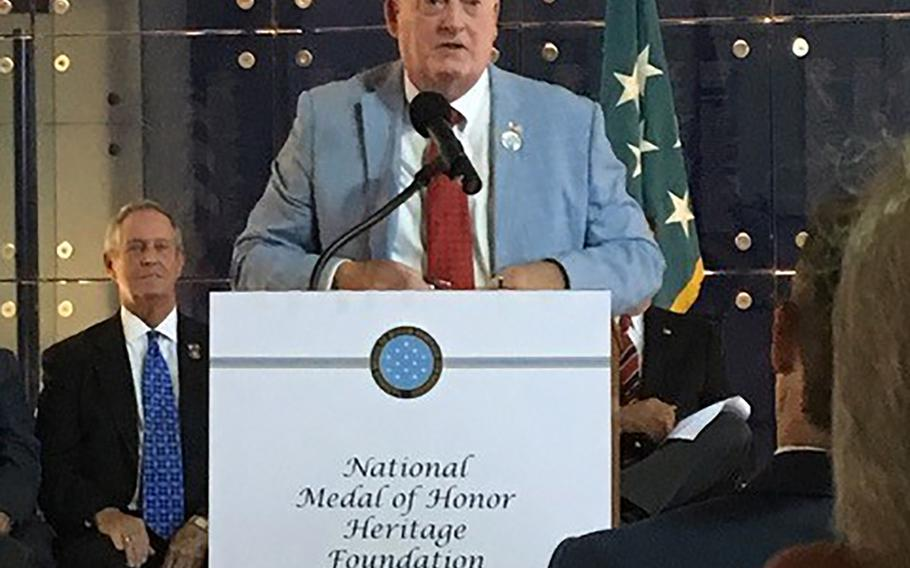 Joseph Daniels, president of the National Medal of Honor Museum Foundation, speaks at the October announcement of the foundation's intentions to build a museum in Arlington, Texas. Originally slated to build in Mount Pleasant, S.C., the foundation chose to move to a city with more annual visitors.