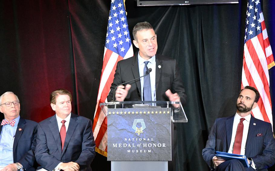 Tom McQueeney, chairman of the Congressional Medal of Honor Museum Foundation, speaks at a July announcement to build a Medal of Honor Museum in Mount Pleasant, S.C. The group seeks to raise $35 million and open the museum on July 4, 2023.