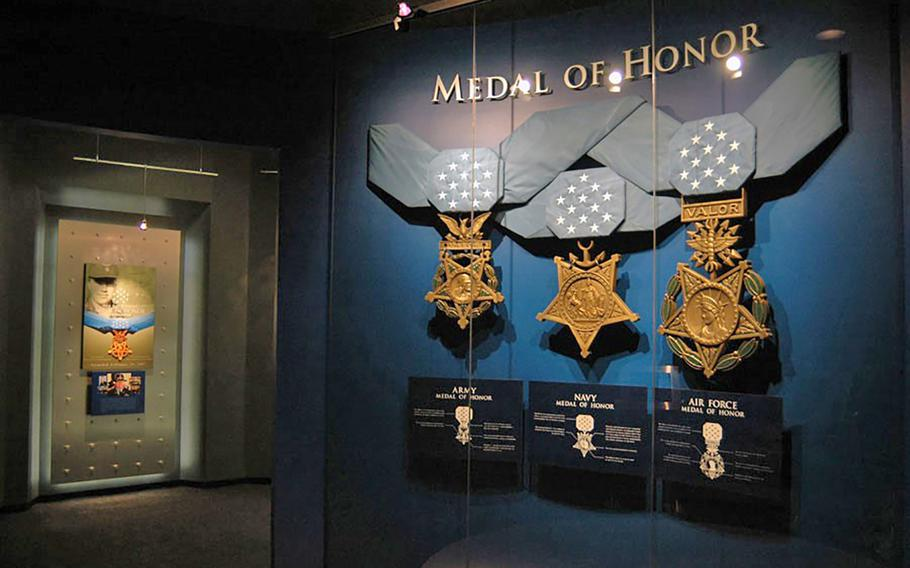 A display inside the current Medal of Honor Museum, located aboard the USS Yorktown in Mount Pleasant, S.C. The museum is operated by the Congressional Medal of Honor Society, which supports living recipients of the Medal of Honor and conducts educational programs nationwide.