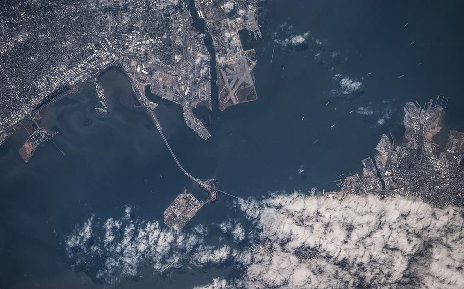 The International Space Station was orbiting off the coast of California in 2019 when an Expedition 60 crewmember photographed San Francisco Bay, Treasure Island, Oakland and a cloud-covered San Francisco.