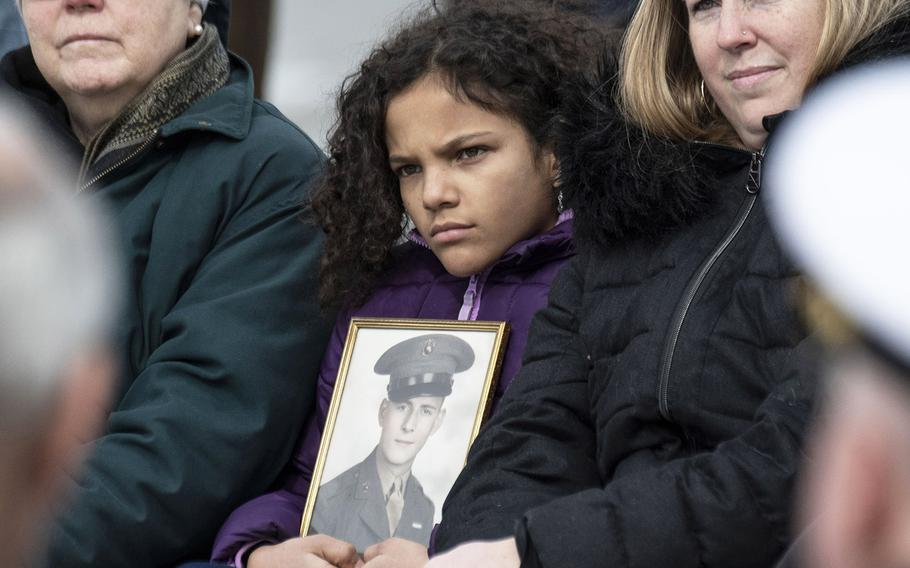 Iwo Jima veteran Juliam McBee Shobe is remembered by his great-granddaughter, Alonna, during a 75th anniversary ceremony, Feb. 19, 2020 at the National World War II Memorial in Washington, D.C.