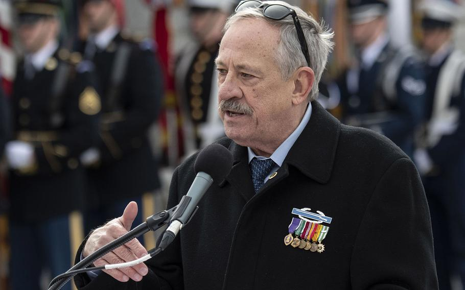 Vietnam Veterans Memorial founder Jan Scruggs speaks at a ceremony marking the 75th anniversary of the Battle of Iwo Jima, Feb. 19, 2020 at the National World War II Memorial in Washington, D.C.