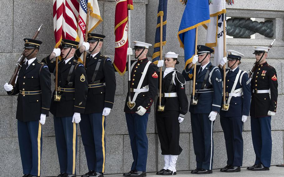 The U.S. Armed Forces Color Guard, at a ceremony marking the 75th anniversary of the Battle of Iwo Jima, Feb. 19, 2020 at the National World War II Memorial in Washington, D.C.