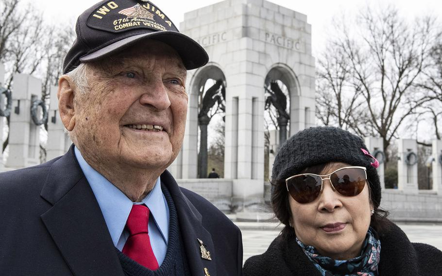 Iwo Jima battle veteran Ira Rigger and his wife, Yong, before a 75th anniversary ceremony, Feb. 19, 2020 at the National World War II Memorial in Washington, D.C.