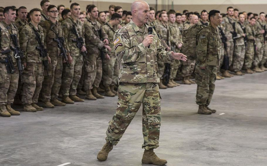 Maj. Gen. James Mingus, the 82nd Airborne Division commanding general, speaks to paratroopers assigned to 1st Brigade Combat Team, 82nd Airborne Division and their families during a redeployment ceremony at Fort Bragg, N.C., February 20, 2020.