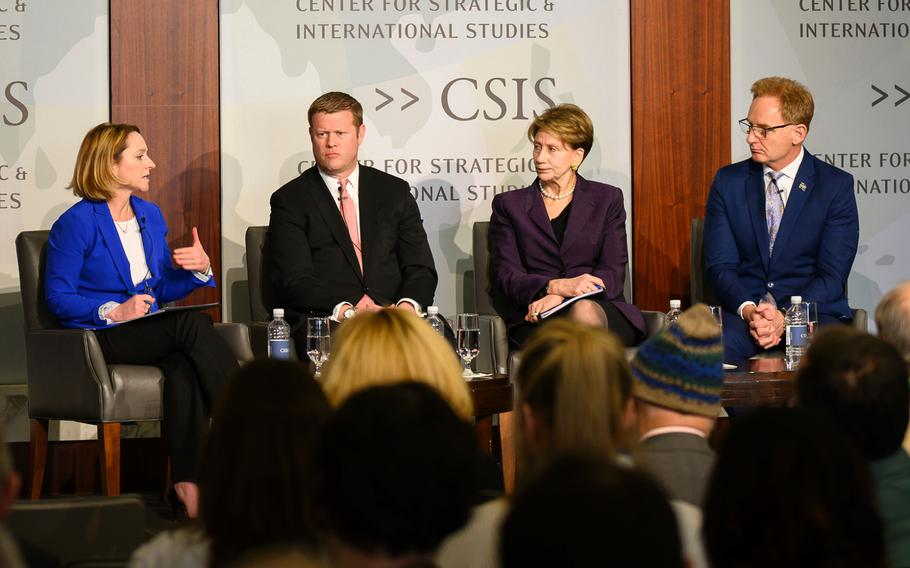 Kathleen Hicks, senior vice president of the Center for Strategic and International Studies, speaks as Army Secretary Ryan McCarthy, Air Force Secretary Barbara Barrett and acting Navy Secretary Thomas Modly listen during a tri-service discussion in Washington, D.C., on Feb. 21, 2020.