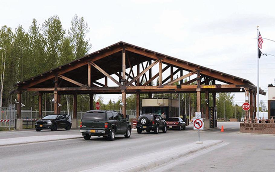 A gate at Joint Base Elmendorf-Richardson, Alaska