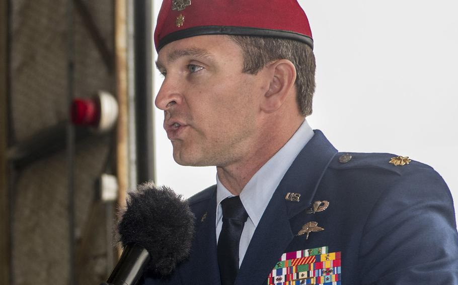 U.S. Air Force Maj. Jeff Wright, Special Tactics officer with the 24th Special Operations Wing, speaks at a ceremony on Hurlburt Field, Florida, Mar. 2, 2020.