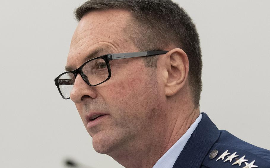 Gen. Joseph Lengyel, the top commander of the National Guard, makes his opening statement at a House Appropriations subcommittee hearing on Capitol Hill, March 3, 2020.