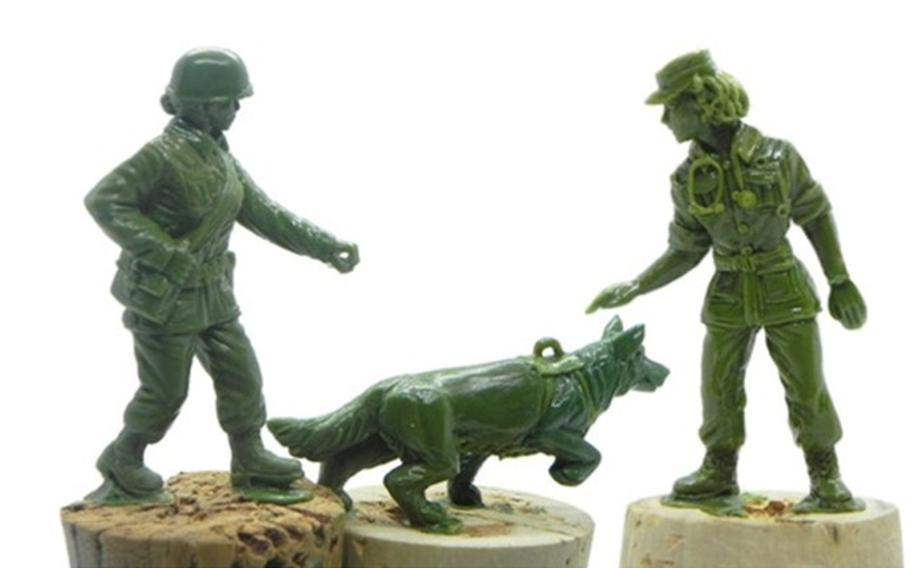Early versions of the military working dog handler, dog and nurse figures, to be released with a line of crowd-funded plastic army women from BMC Toys are pictured here.