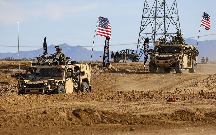 Green Berets with the 5th Special Forces Group (Airborne), accelerate their Ground Mobility Vehicle 1.1s as they start their first lap in the Mint 400, March 06, 2020, in Primm, Nevada.
