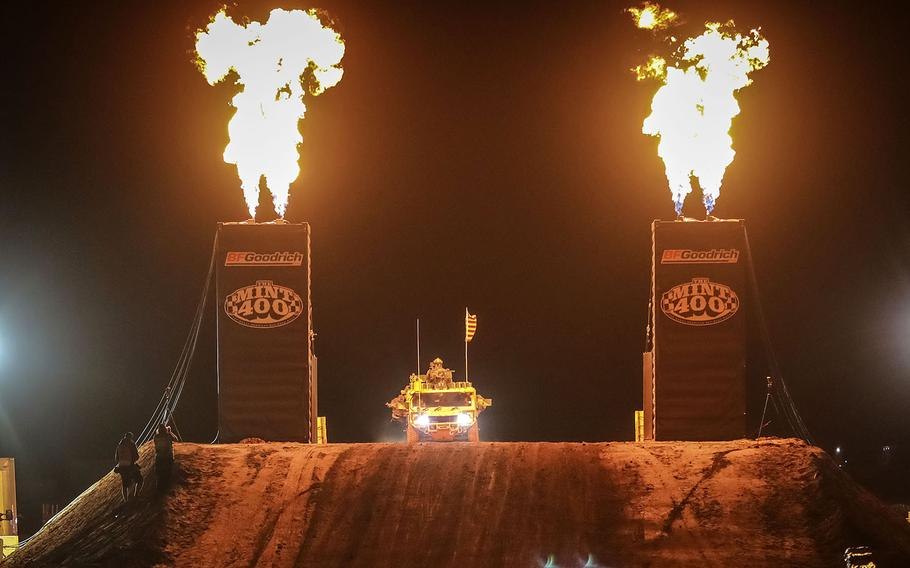 Fireball shoot out as Green Berets with the 5th Special Forces Group (Airborne), complete their first lap of the Mint 400, March 06, 2020, in Primm, Nevada.