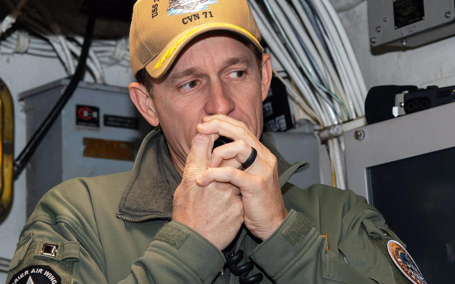 In a Jan. 17, 2020 photo, Capt. Brett Crozier, commanding officer of the USS Theodore Roosevelt, addresses the crew.