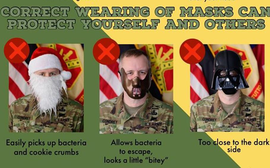 This detail of a post on U.S. Army Garrison Stuttgart's Facebook page shows garrison commander Col. Jason Condrey with various unapproved masks.