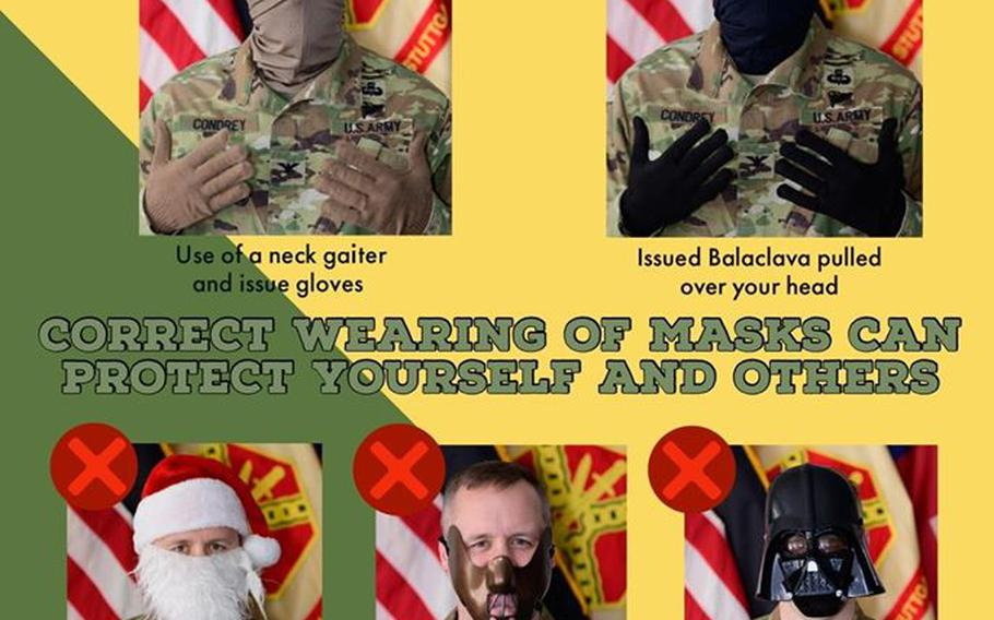 A masks post on U.S. Army Garrison Stuttgart's Facebook page featured Stuttgart garrison commander Col. Jason Condrey.