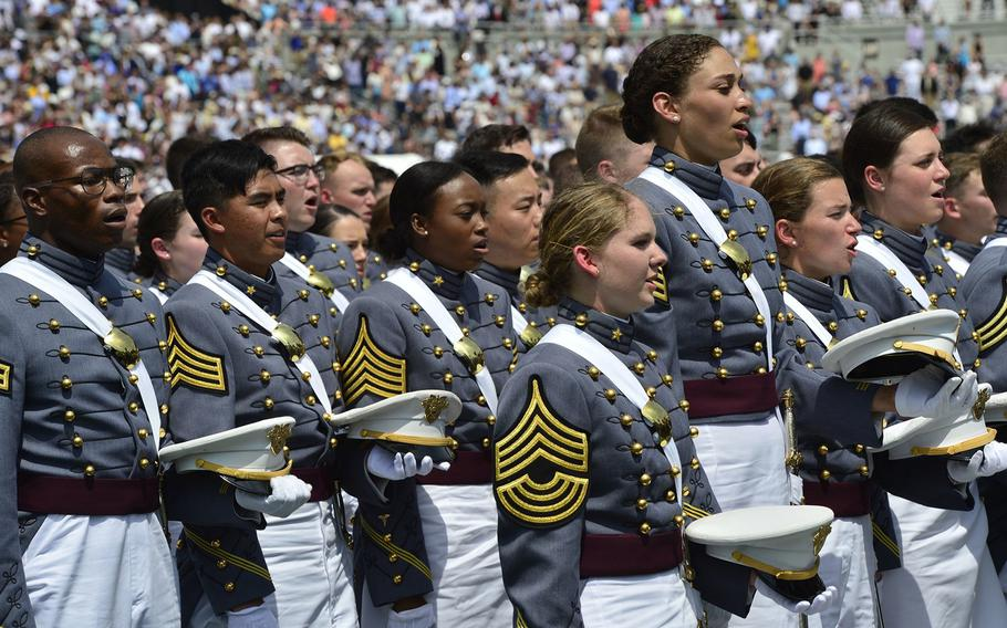 In a May 26, 2018 photo, the U.S. Military Academy at West Point holds its graduation and commissioning ceremony for the Class of 2018 at Michie Stadium in West Point, N.Y..