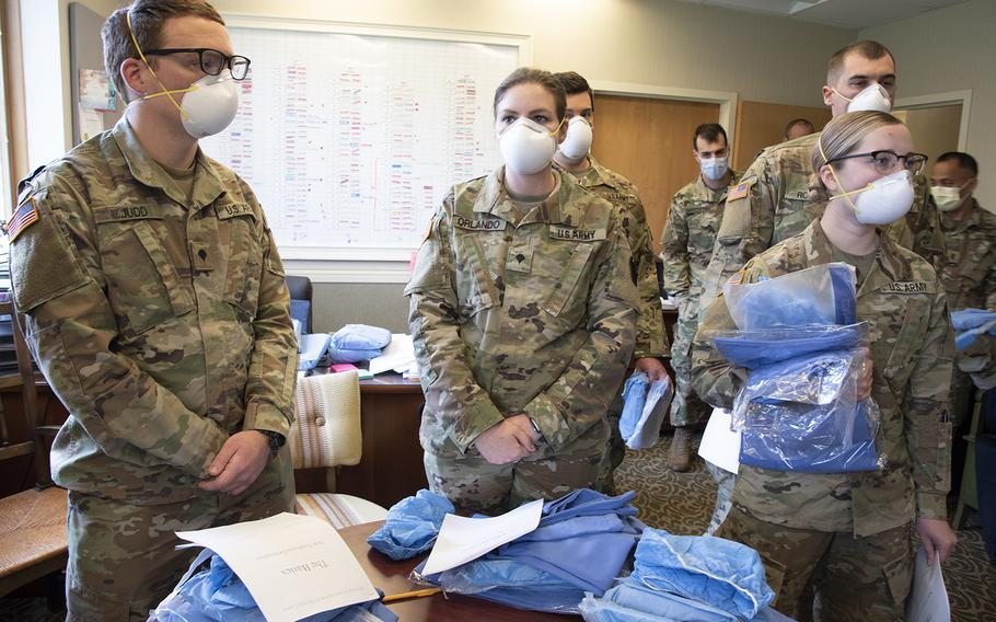 The Pennsylvania National Guard deployed a Joint Force Medical Strike Team to assist at a rehabilitation and nursing home in Delaware County starting April 18. The team consists of 12 Army National Guard medics from 2nd Squadron, 104th Cavalry Regiment and 6 nurses from the PA Air National Guard's, 193rd Det 1, from Ft. Indiantown Gap.