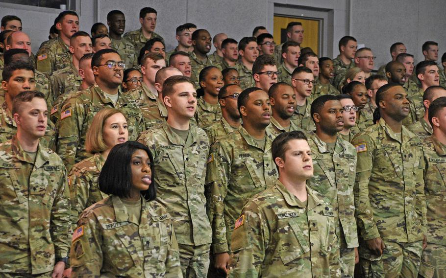 Soldiers graduate from the Basic Leaders Course class 004-19, hosted by 3rd Battalion, 218th Regiment (Leadership), South Carolina Army National Guard, at the McCrady Training Center in Eastover, S.C., March 1, 2019.