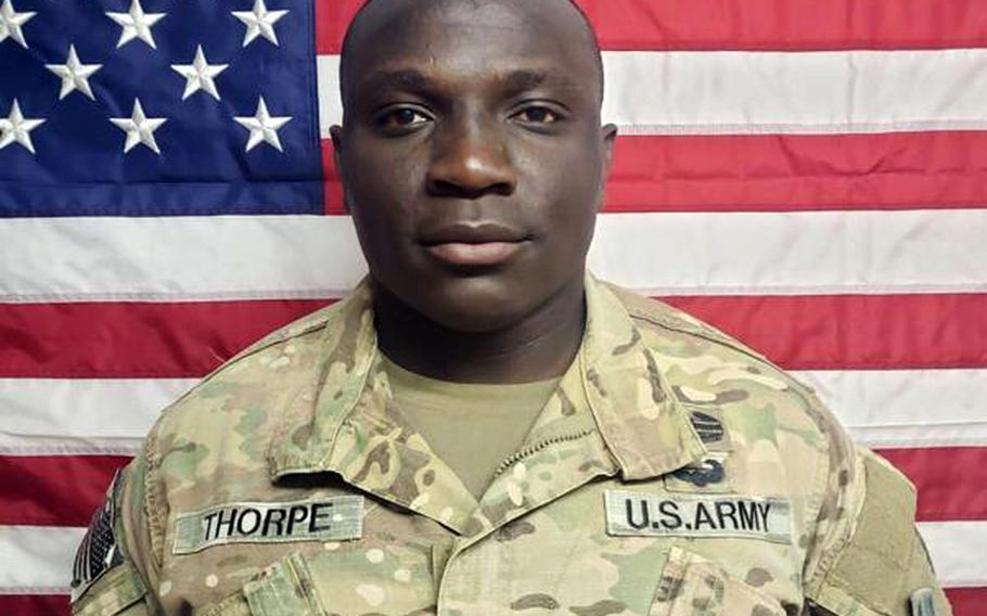 Sgt. Virgill Thorpe, a 28-year-old cavalry scout from Canton, Mass., was killed April 19  after he pointed a rifle at police through the basement window of his off-base home during a domestic disturbance call.