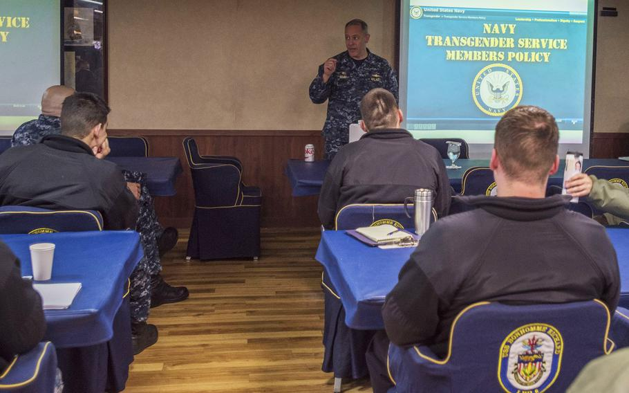 In a Jan. 25, 2017 photo, Capt. Jeffrey Ward, commanding officer of amphibious assault ship USS Bonhomme Richard, facilitates transgender training with chiefs and officers in the ship's wardroom at Sasebo, Japan.